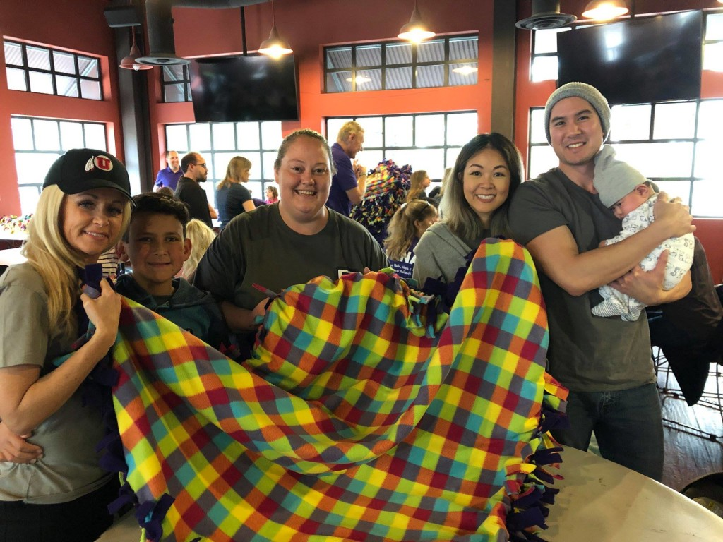 Volunteer to make blankets for cancer patients